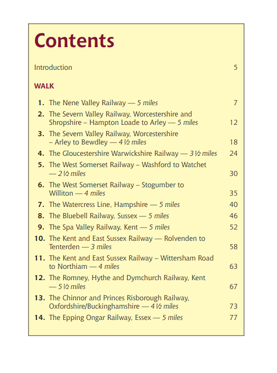Walks Following Steam Railways in the Southern Counties of England. Heritage Railway Steam Trains walking routes book contents
