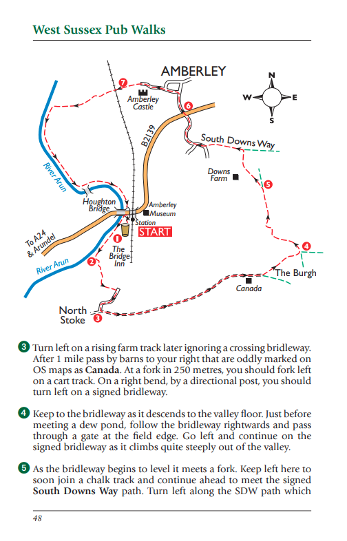 West Sussex Pub Walks Amberley walk map