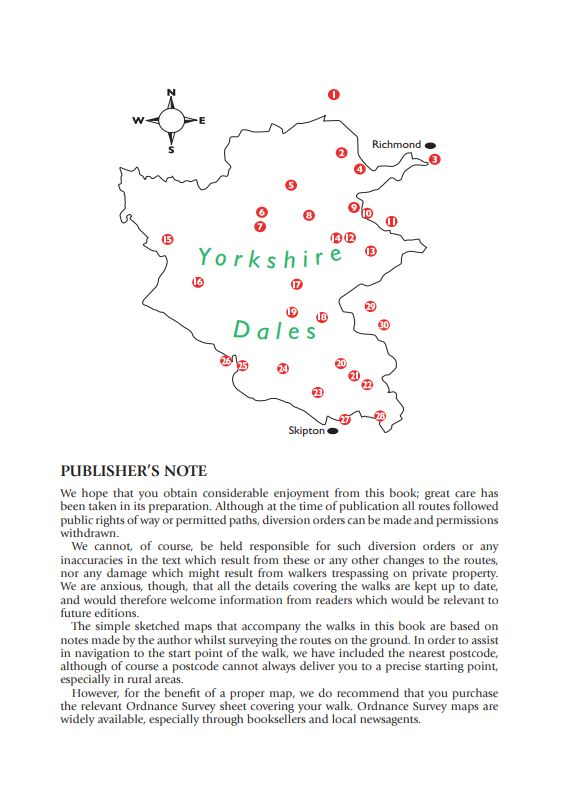 Yorkshire Dales 30 Pub Walks area map.