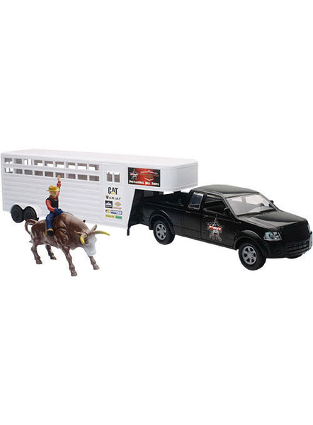 PBR Pick Up & Cattle Trailer with Bull & Rider Set by New Ray Toys