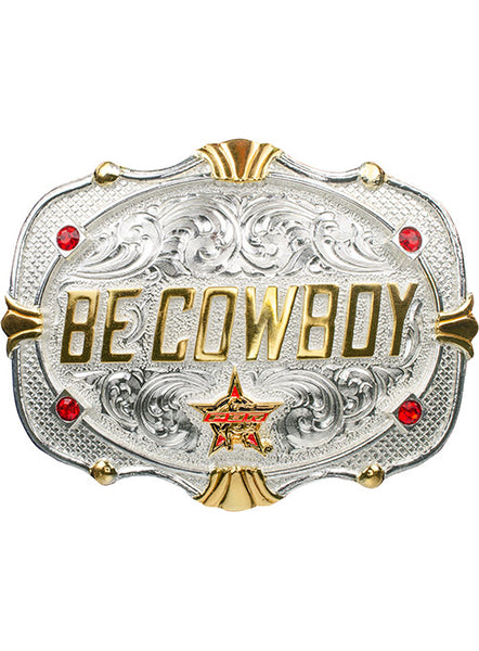 PBR Be Cowboy Classic Western Belt Buckle by Montana Silversmiths