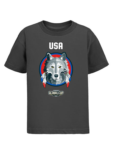 Global Cup USA Wolves Team Mascot Youth T-Shirt