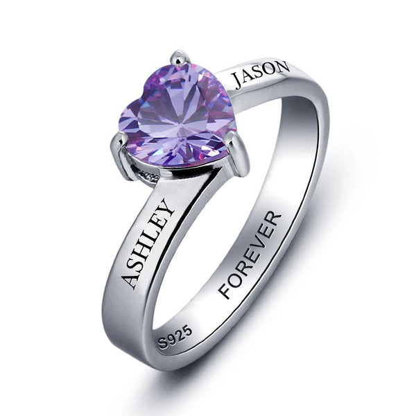 Personalized Heart Birthstone Sterling Silver Womens Ring