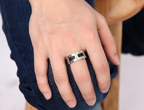 Mens promise rings - 10mm Black Cables Stainless Steel Mens Ring