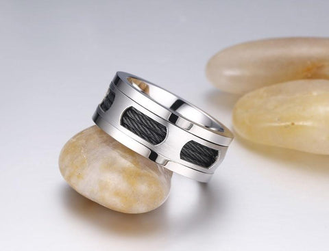 Mens wedding rings - 10mm Black Cables Stainless Steel Mens Ring