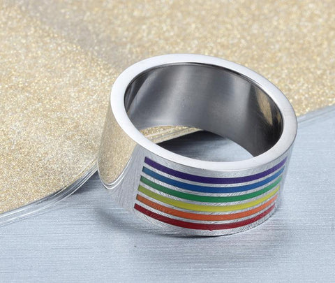 LGBT Rings - 10mm Colorful Top Rainbow Stainless Steel Silver Unisex Ring