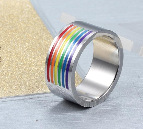 LGBT Pride Rings - 10mm Colorful Top Rainbow Stainless Steel Silver Unisex Ring
