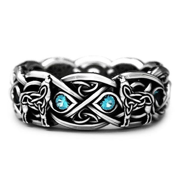 Celtic Knot Wolf Silver Ring