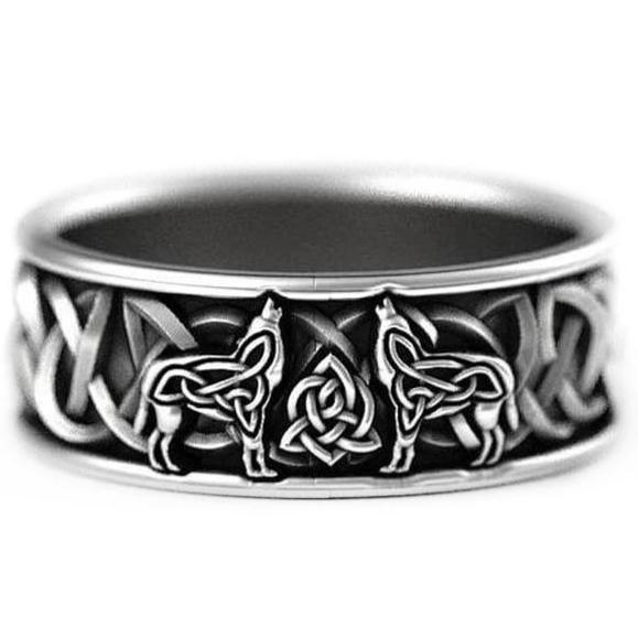 Celtic Knot Wolf Silver Unisex Ring