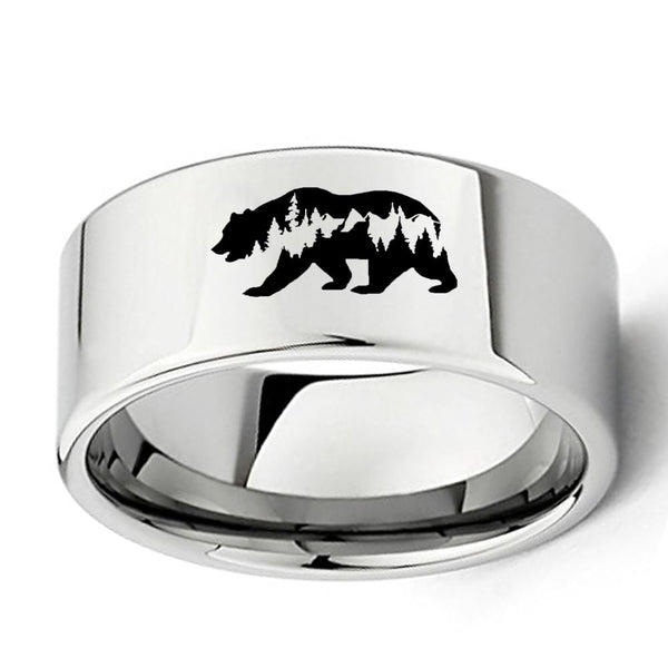 Bear Mountains Forest Silver Tungsten Mens Ring