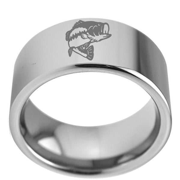 Pipe Bass Fish Silver Tungsten Mens Rings