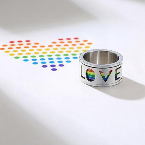 LGBT Gay ring - 11mm Silver & Rainbow LOVE Mens Spinner Ring