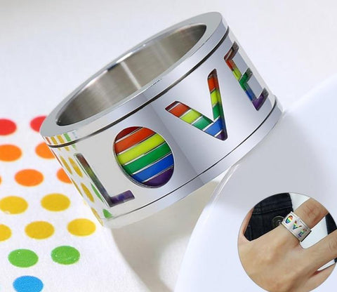 LGBTpPride ring - 11mm Silver & Rainbow LOVE Mens Spinner Ring