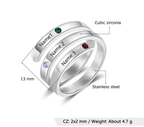 Mothers ring gifts for mom - Customized 3 names & 3 birthstones womens ring
