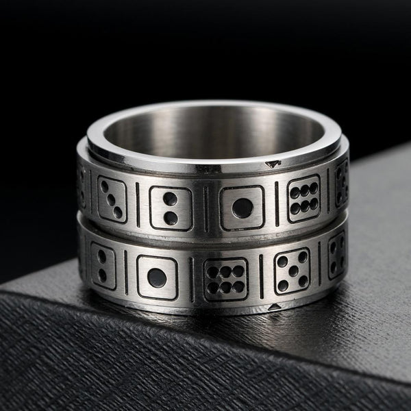 Game Dice Stainless Steel Spinner Ring