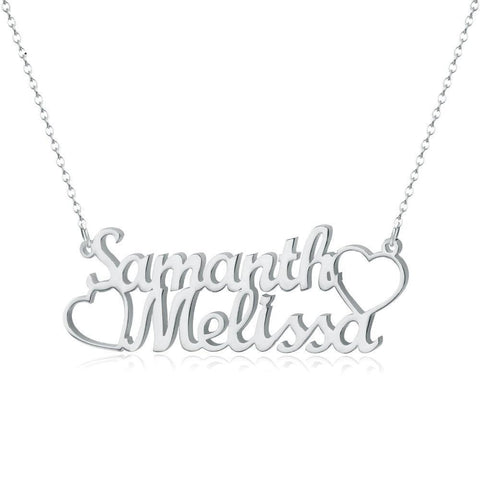 silver name necklaces - Personalized Two Names Necklace