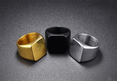 Mens rings - 18mm Flat Square 316L Stainless Steel Mens Ring