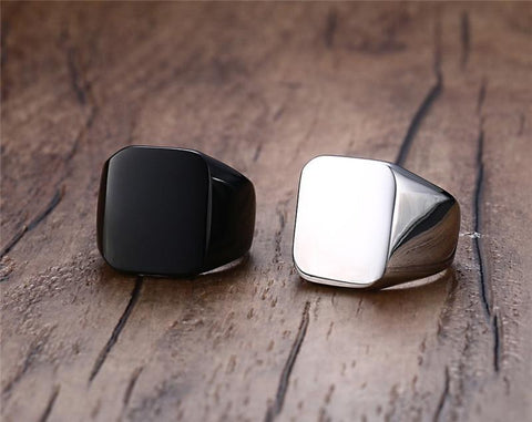 Mens ring - 18mm Flat Square 316L Stainless Steel Mens Ring