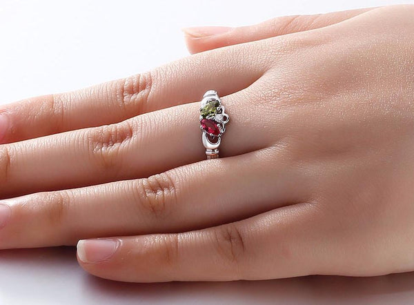Claddagh Womens Ring 925 Sterling Silver With Birthstones
