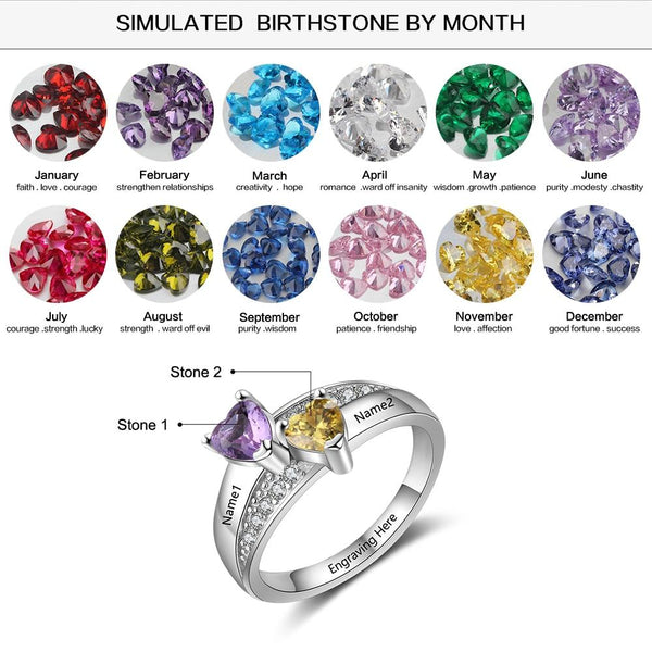 Birthstone rings - 2 Heart Birthstones & 3 Engravings 925 Sterling Silver Womens Ring
