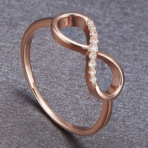 Infinity ring for women - rose gold cubic zirconia infinity ring gift for her