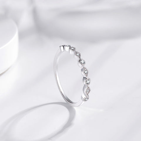 simple minimalist sterling silver cubic zirconias womens ring
