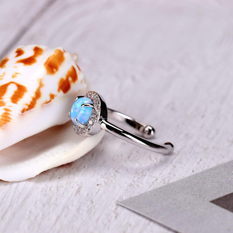 Blue opal womens ring - silver adjustable opal ring for her