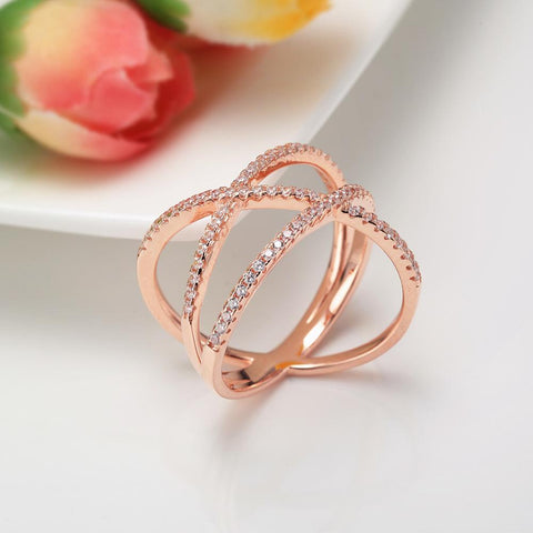 wrap cross ring for women in rose gold color