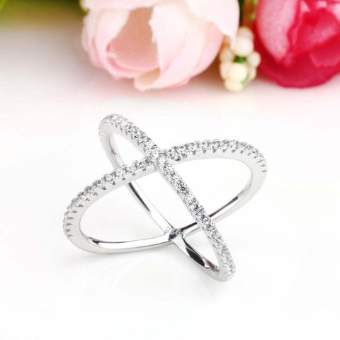 Silver wrapping cross ring - Sterling Silver Womens Ring