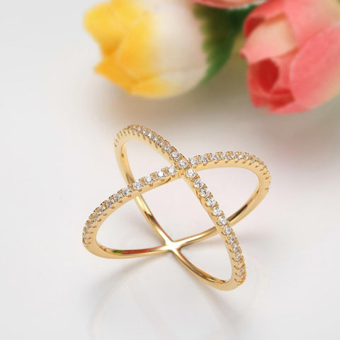gold wrapping cross ring - Sterling Silver Womens Ring
