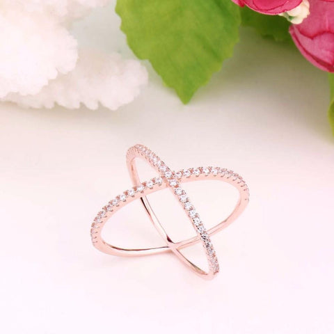 rose gold wrapping cross ring - Sterling Silver Womens Ring