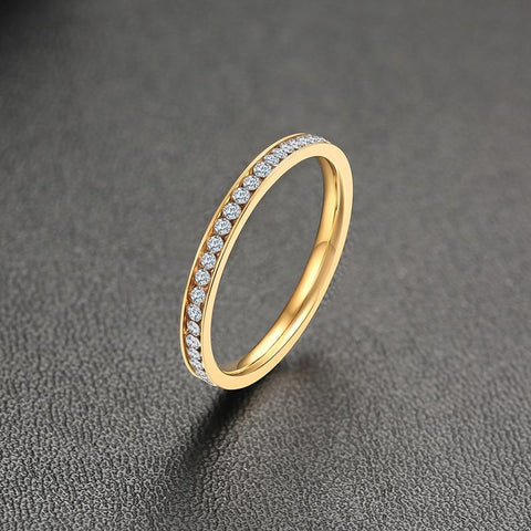 womens gold ring - simple minimalist cubic zirconia ring for her