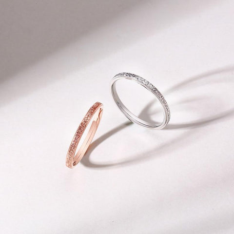 silver and rose gold minimalist simple stainless steel womens rings