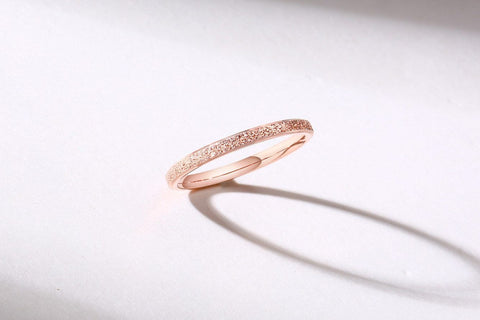 rose gold minimalist simple stainless steel womens rings