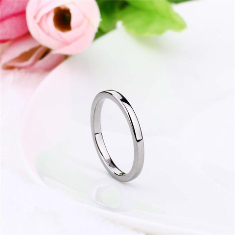 womens silver ring band - simple minimalist silver smooth titanium womens ring