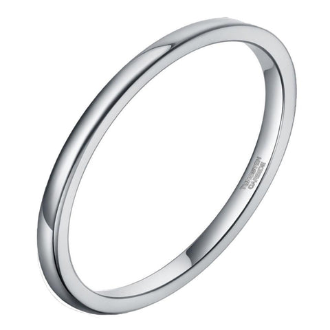 simple thin tungsten silver womens ring