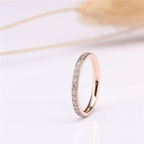 titanium rose gold thin simple promise ring for her