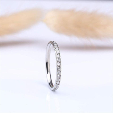 titanium silver thin simple promise ring for her