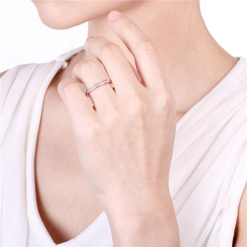 stackable rings for women - titanium silver, gold or rose gold promise ring for her