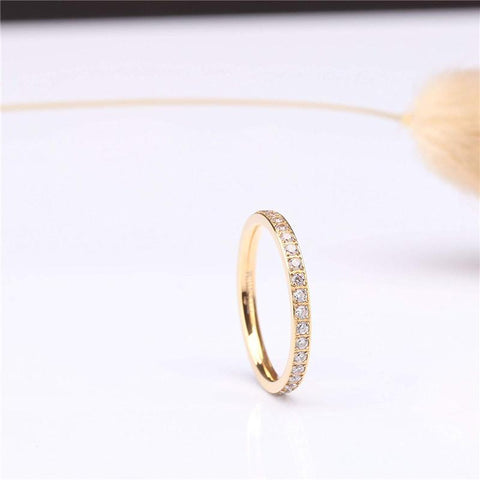 stackable rings for women - titanium gold thin simple promise ring for her