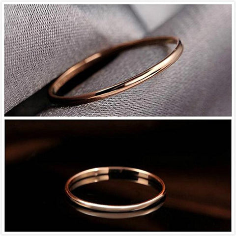 promise ring for her - 2mm Thin Simple Rose Gold Titanium Womens Ring