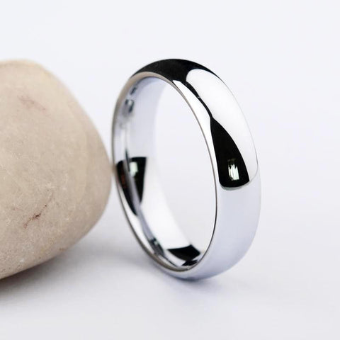Mens Silver Polished Tungsten Band Rings