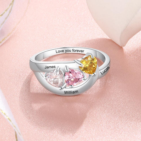 mothers ring gift for mom - 3 custom name engraving & 3 heart birthstones womens ring