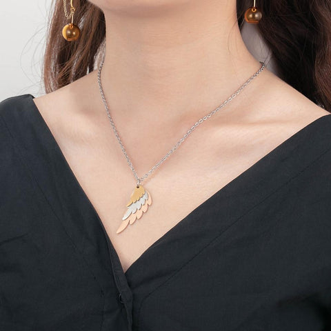 silver angel wings necklace gift for her