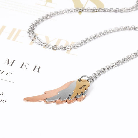 custom necklaces for women - wings with 3 custom names