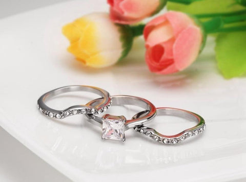 rings for her - 3 piece stacking zirconia diamond ring for women
