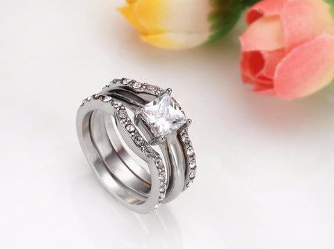 promise rings for her - 3 piece stacking zirconia diamond ring for women