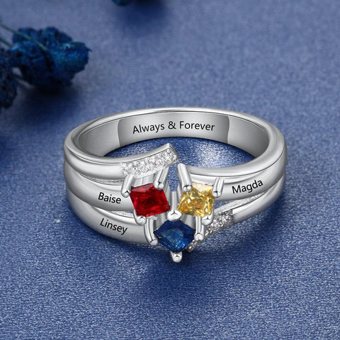 friends birthstones rings with 3 names and 3 birthstones