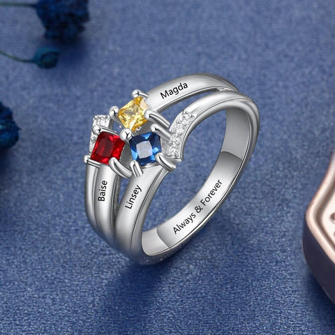 womens birthstones rings with 3 names and 3 birthstones