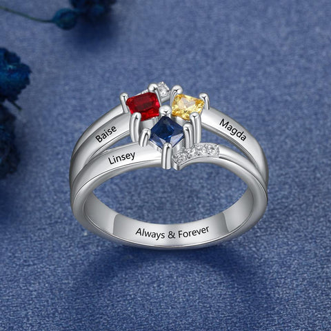 mothers birthstones rings with 3 names and 3 birthstones